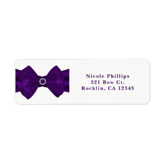 Purple Ribbon & Diamonds Glam Bling Invitation Return Address Label