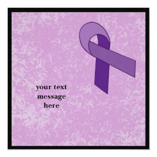 purple ribbon event 13 cm x 13 cm square invitation card