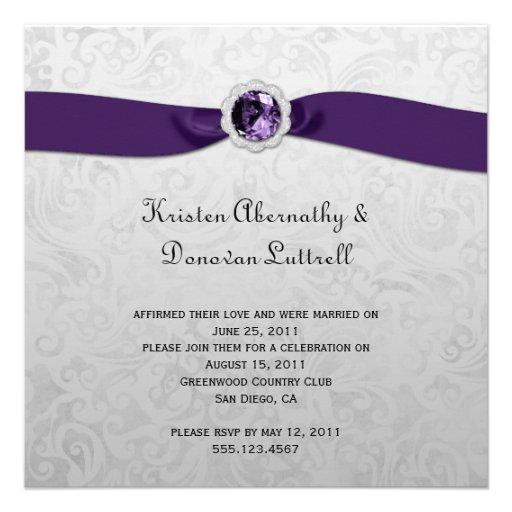 Silver And Purple Wedding Invitations: Purple Ribbon Gem Silver Post Wedding Invitation 13 Cm X