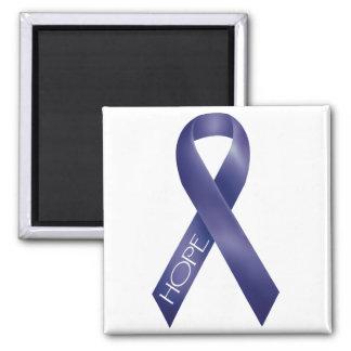 Purple Ribbon Square Magnet