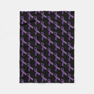 Purple Ribbons Tiled  Pattern Fleece Blanket