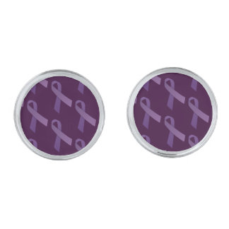 Purple Ribbons Tiled  Pattern Silver Finish Cuff Links