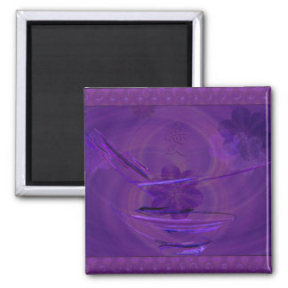 Purple Rice Bowl Abstract Art Square Magnet