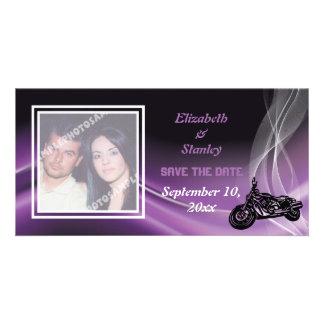 Purple road biker wedding Save the Date photo card