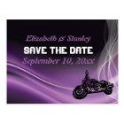 Purple road biker wedding Save the Date postcard
