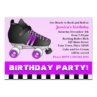 Purple Roller Skate Birthday Party Card