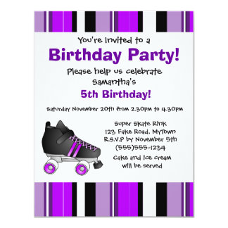 Purple Roller Skate Birthday Party - Purple Stripe 11 Cm X 14 Cm Invitation Card