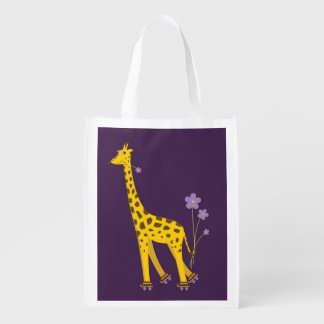 Purple Roller Skating Funny Cartoon Giraffe Reusable Grocery Bag
