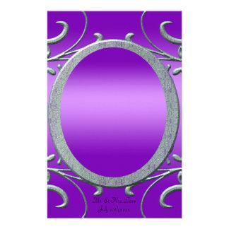 Purple Romance Metallic Silver Scrolls Wedding Personalized Stationery