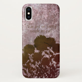 Purple Romantic Mum Flowers in Silhouette iPhone X Case