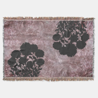 Purple Romantic Mum Flowers in Silhouette Throw Blanket