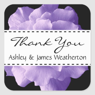 Purple Rose and Black Floral Wedding Collection Square Sticker
