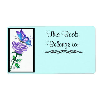 Purple Rose and Butterfly Book Label Shipping Label