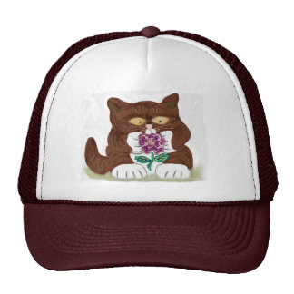 Purple Rose and Kitten Cap
