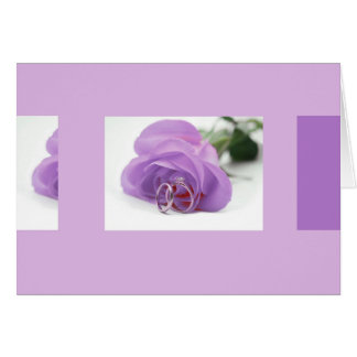 Purple rose and wedding rings card