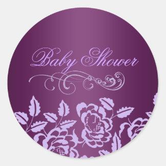 Purple Rose Baby Shower Envelope Sticker/seal Round Sticker