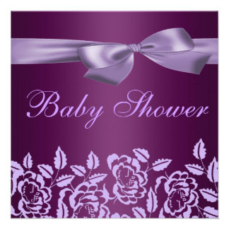 Purple Rose Baby Shower Invitation