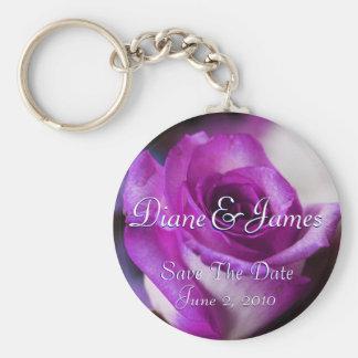 Purple Rose Basic Round Button Key Ring