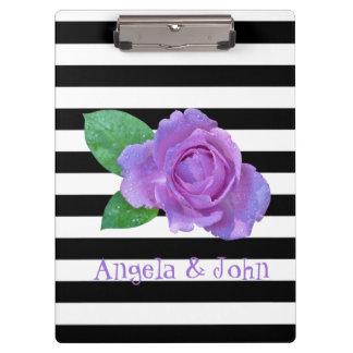 Purple Rose, Black, White Stripes Personalized Clipboard