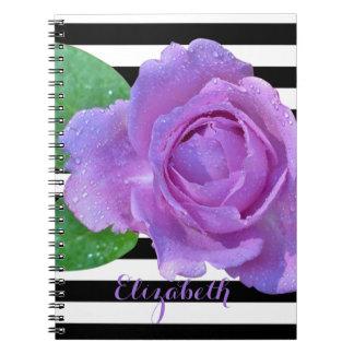 Purple Rose, Black White Stripes-Personalized Notebook