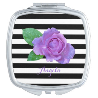 Purple Rose, Black, White Stripes Personalized Travel Mirrors