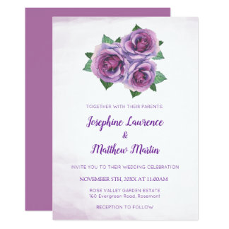 Purple Rose Bouquet Floral Wedding Invitations