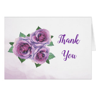 Purple Rose Bouquet Watercolor Thank You Card