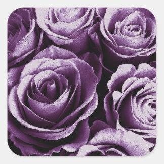 Purple Rose Bouquet Wedding Rose Square Sticker