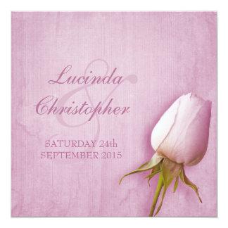 "Purple rose bud lilac wedding square invitation 5.25"" square invitation card"