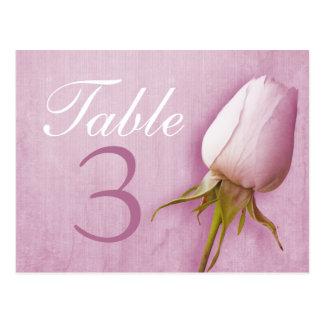 Purple rose bud wedding table number 1-9 postcard