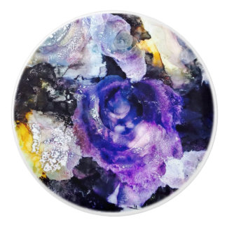 Purple Rose Ceramic Knob