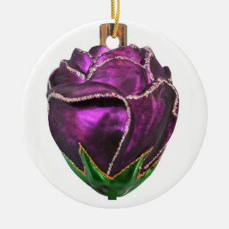 Purple Rose Ceramic Ornament