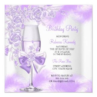 Purple Rose Champagne White Floral Party 13 Cm X 13 Cm Square Invitation Card