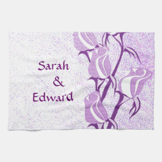 Purple Rose Couple Personalized Hand Towels