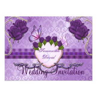 Purple Rose Damask Wedding Invitation