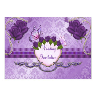 Purple Rose Damask Wedding Invitation