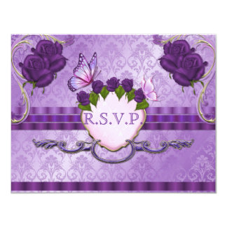 Purple Rose Damask Wedding RSVP Card 11 Cm X 14 Cm Invitation Card