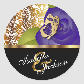 Purple Rose Floral Design | Personalize Round Sticker