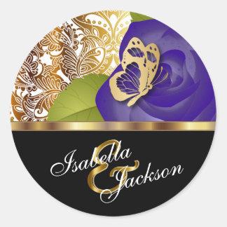 Purple Rose Floral Design | Personalize Round Sticker