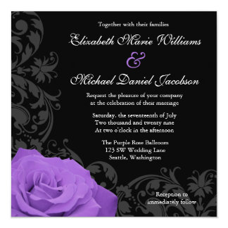 Purple Rose Flourish Wedding 13 Cm X 13 Cm Square Invitation Card