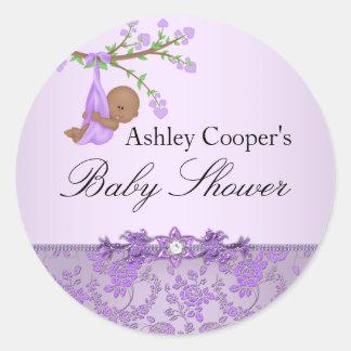 Purple Rose Garden Baby Shower Sticker