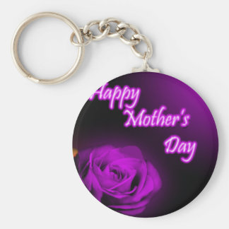 Purple Rose Happy Mother s Day design Key Chain