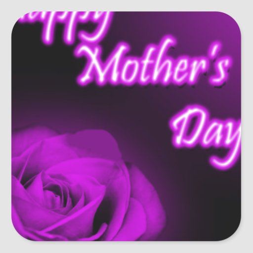 Purple Rose Happy Mother's Day design Square Stickers