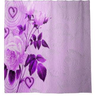 purple rose hearts shower curtain