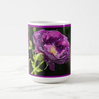 Purple Rose in morning Dew Basic White Mug