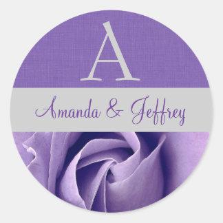 Purple Rose Monogram Wedding Sticker