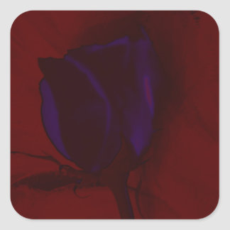 Purple Rose on Red Background Creative Art Square Sticker
