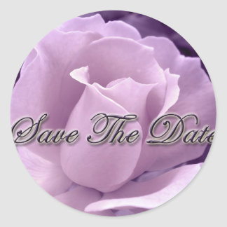 Purple Rose Save the Date Stickers