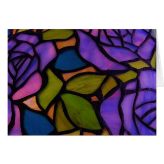 Purple Rose Stained Glass Greeting Note Card
