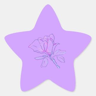 Purple Rose Star Star Sticker